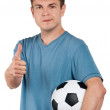 Man with classic soccer ball — Stock Photo #10102593