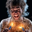 Crazy electrician — Stock Photo #10464090