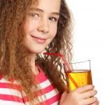 Girl with apple juice — Stock Photo #10464371