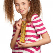 Girl with gift box — Stock Photo #10464420