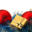 Christmas baubles and gift box — Stock Photo #8029676
