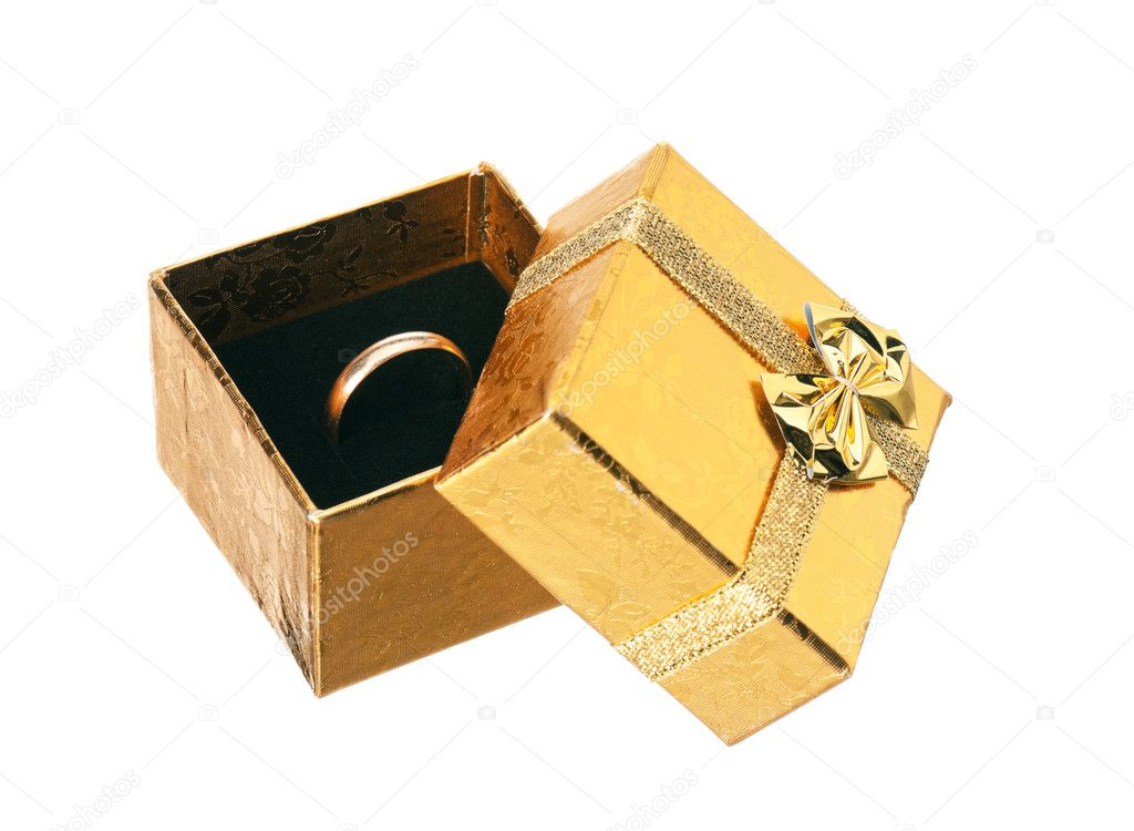 Golden gift box with ribbon and bow on white background  Stock Photo #8030044