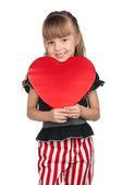 Menina com coração vermelho — Foto Stock