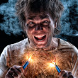 Crazy electrician - Stock Photo