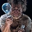 Stock Photo: Crazy electrician