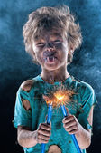 Crazy little electrician — Stock Photo