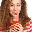Girl with apple juice — Stock Photo #9060616