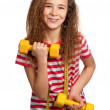 Girl with dumbbells — Stock Photo #9060719