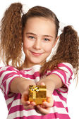 Girl with gift box — Stockfoto