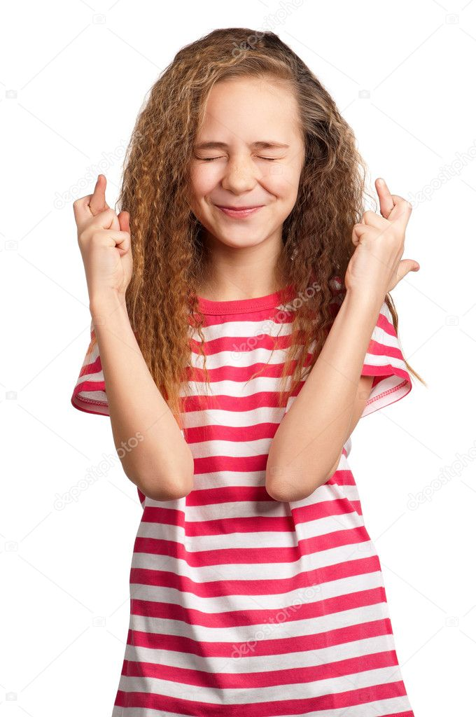 Portrait of superstitious girl isolated on white background — Stock Photo #9060907