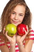 Girl with apple — Stok fotoğraf