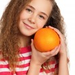 Girl with orange — Stock fotografie