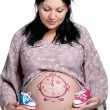 Tummy with drawing — Stock Photo
