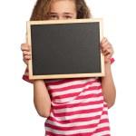 Girl with blackboard — Stock Photo