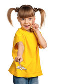 девушка с волшебной палочкой — Стоковое фото