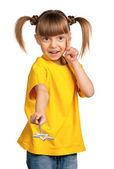 Flicka med trollspö — Stockfoto