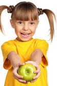 Girl with apple — Foto Stock