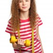 Girl with dumbbells — Stock Photo #9582071
