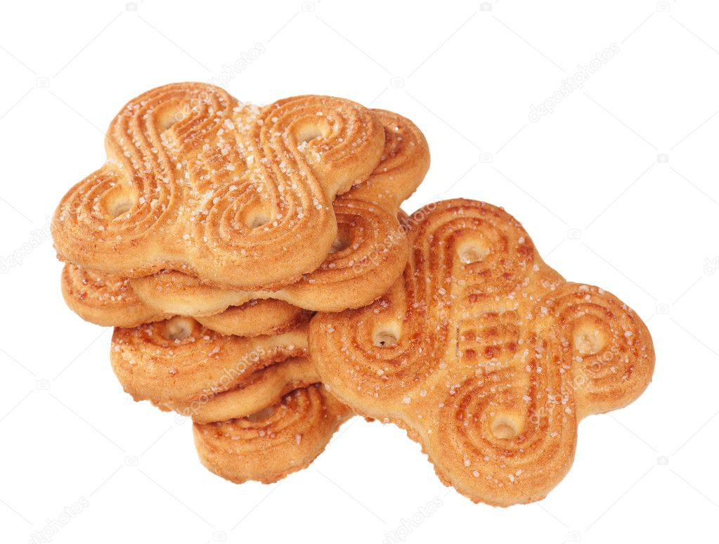 Pile of delicious cookies over white background — Stock Photo #9581410