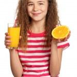 Girl with orange juice — Stock Photo #9664131