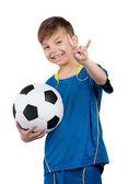 Boy in ukrainian national soccer uniform — Stock Photo
