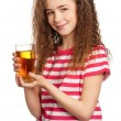 Girl with apple juice — Stock fotografie