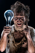 Crazy electrician — Stock Photo