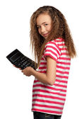 Meisje met Rekenmachine — Stockfoto