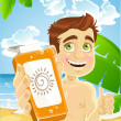 Man on the beach with cream for sunburn — Stock Vector