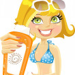 Blond woman presents cream for sunburn — Stock Vector