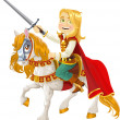Stock Vector: Prince Charming on white horse ready for act of bravery