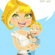 Pretty mom with her son in her arms with speech bubble — Stock Vector