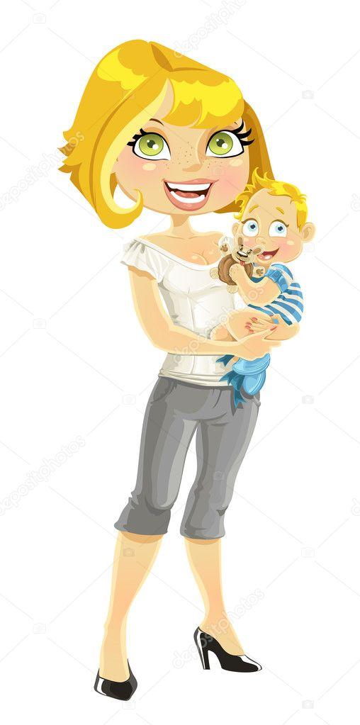 漂亮妈妈与她的儿子在怀里