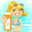 Woman presents cream for sunburn on shiny sea background — Stock Vector