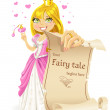 Sweetheart Princess with banners - your fairy tale begins here — Stock Vector #10477184