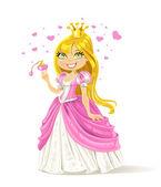 Schattig sprookjesachtige prinses met een liefdesdrank — Stockvector