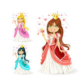 Beautiful fairy princess in a different color variations — Stock Vector