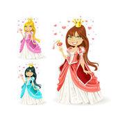 Mooie fee prinses in een verschillende kleurvariaties — Stockvector