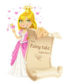 Sweetheart Princess with banners - your fairy tale begins here — Stock Vector