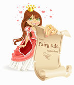 Cute brown haired Princess with banners - your fairy tale begins here — Stock Vector