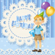 Happy Birthday blue openwork card for your greetings to cute boy — Stock Vector #10521550