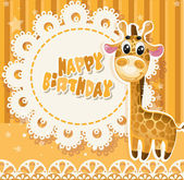 Happy Birthday yellow openwork card for your greetings — Stock Vector