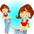 Young athletic brown haired womshows old jeans after losing weight — Stock Vector #10592436