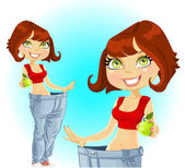 Young athletic brown haired woman shows old jeans after losing weight — Stock Vector