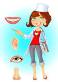 Cute woman doctor - indicating that the part of face — Stock Vector