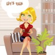 "Beautiful blond girl in blue armchair with cup coffee offers ""let's talk"" — Stock Vector"