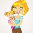 Blonde mom with baby girl in her arms — Stock Vector