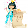 Sweetheart brunette Princess with banner - your fairy tale begins here — Stock Vector #10716226