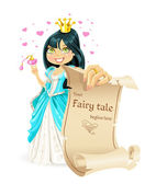 Sweetheart brunette Princess with banner - your fairy tale begins here — Stock Vector
