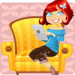 Cute girl with a laptop in a yellow armchair — Stock Vector